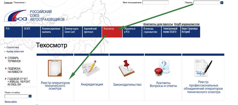 Реестр операторов технического осмотра на сайте РСА