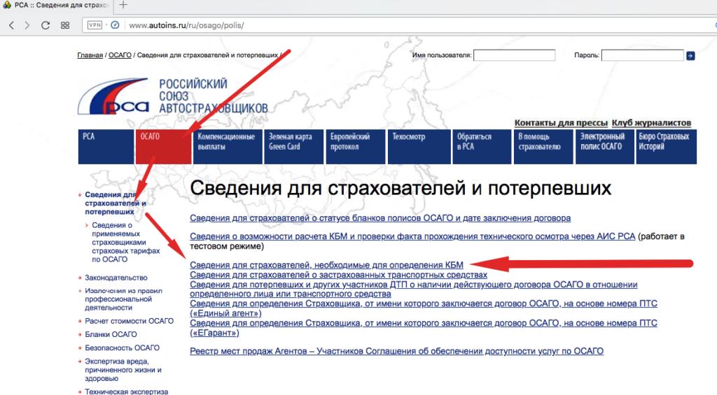 Проверка КБМ на сайте РСА